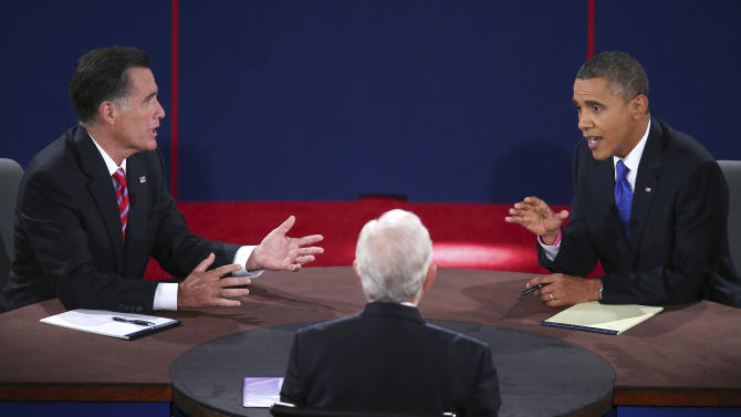 Republican presidential nominee Mitt Romney and President Barack Obama answer a question during the third presidential debate at Lynn University, Monday, Oct. 22, 2012, in Boca Raton, Fla. (AP Photo/Pool-Win McNamee)