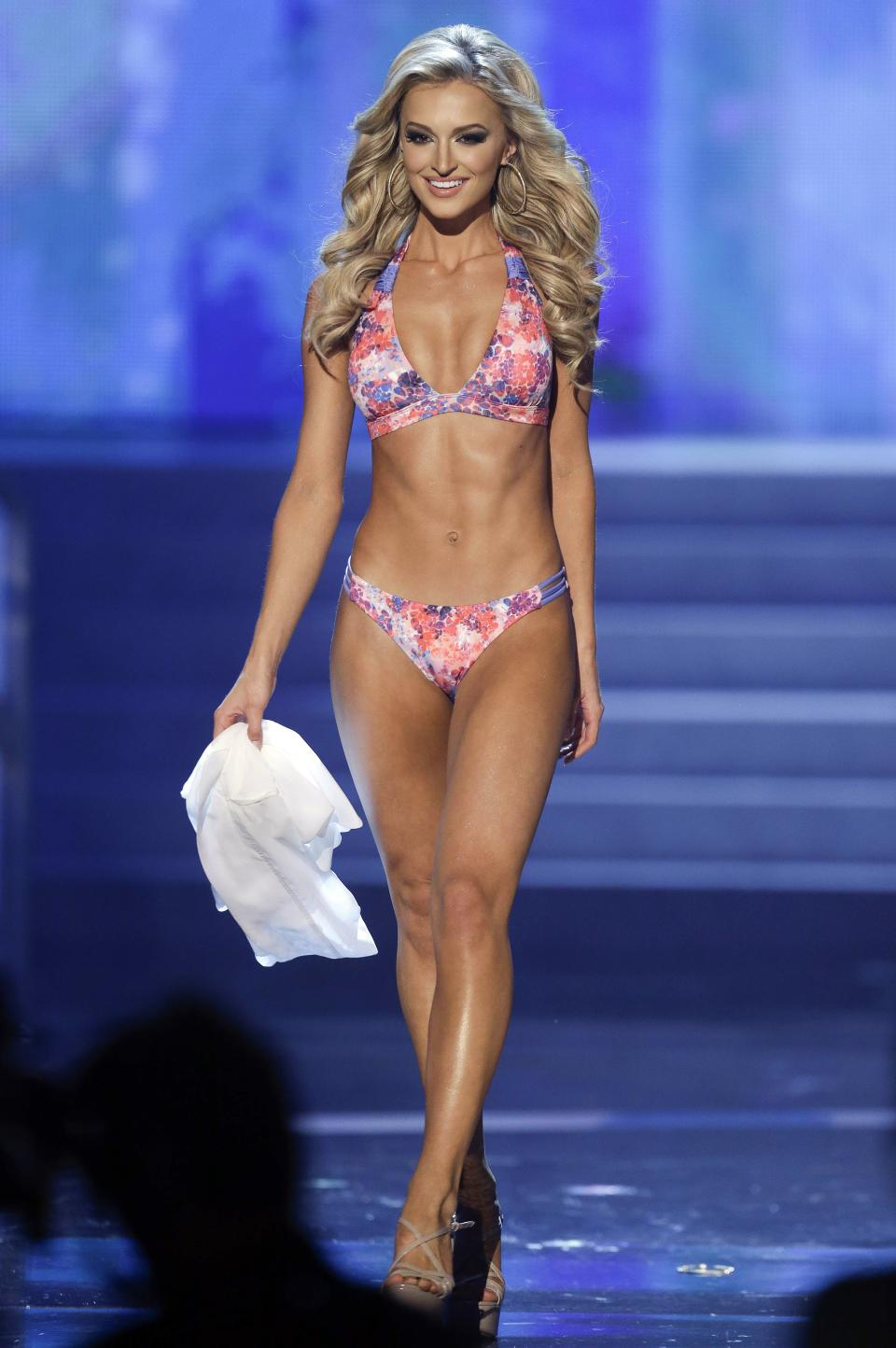 Melinda Bam, Miss South Africa, competes in the swimsuit portion of the Miss Universe competition, Wednesday, Dec. 19, 2012, in Las Vegas. (AP Photo/Julie Jacobson)