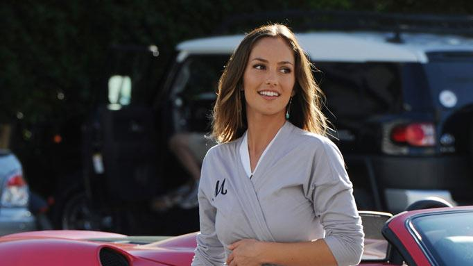 "Minka Kelly on the set of the television series ""Charlie's Angels"" on March 16, 2011 in Miami Beach, Florida."