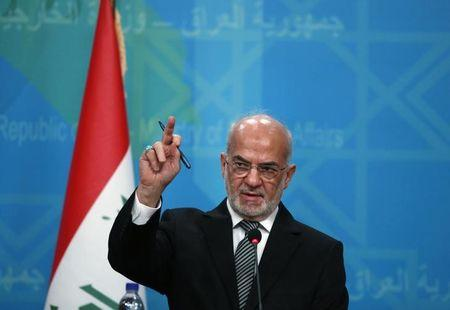 Iraqi Foreign Minister Ibrahim al-Jaafari speaks during a news conference with Turkey's Energy Minister Taner Yildiz  in Baghdad