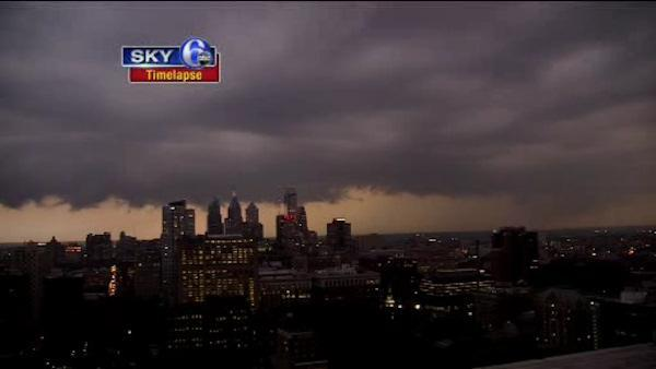 Timelapse: Clouds roll over Center City