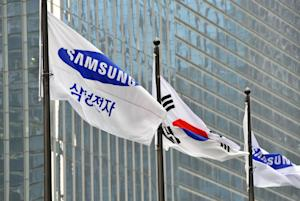 A Samsung Electronics flag is seen outside the company's …