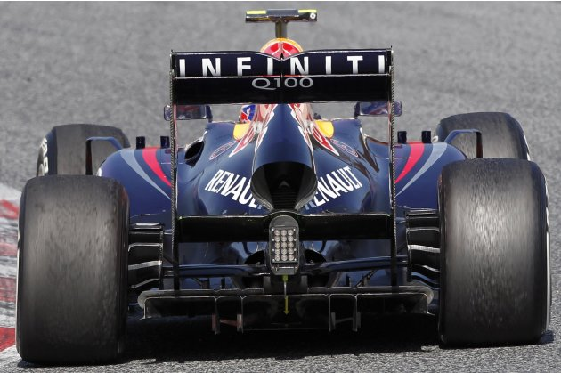 Red Bull Formula One driver Webber drives during a training session at Circuit de Catalunya racetrack in Montmelo