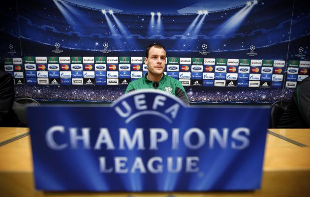 Celtic's coach Anthony Stokes takes part in a news conference at Camp Nou stadium in Barcelona