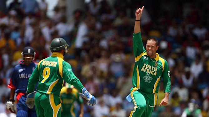 South Africa all-rounder Andrew Hall (R) celebrates after taking a wicket during the ICC World Cup match at the Kensington Oval in Bridgetown, Barbados on April 17, 2007