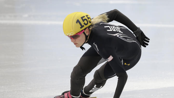 Emily Scott of the United States practices during a short track speedskating practice session at the Iceberg Skating Palace during the 2014 Winter Olympics, Friday, Feb. 14, 2014, in Sochi, Russia. (AP Photo/Darron Cummings)