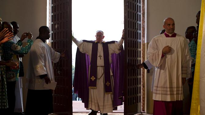 Pope Francis opens the Holy Door at the Cathedral of Bangui, Central African Republic