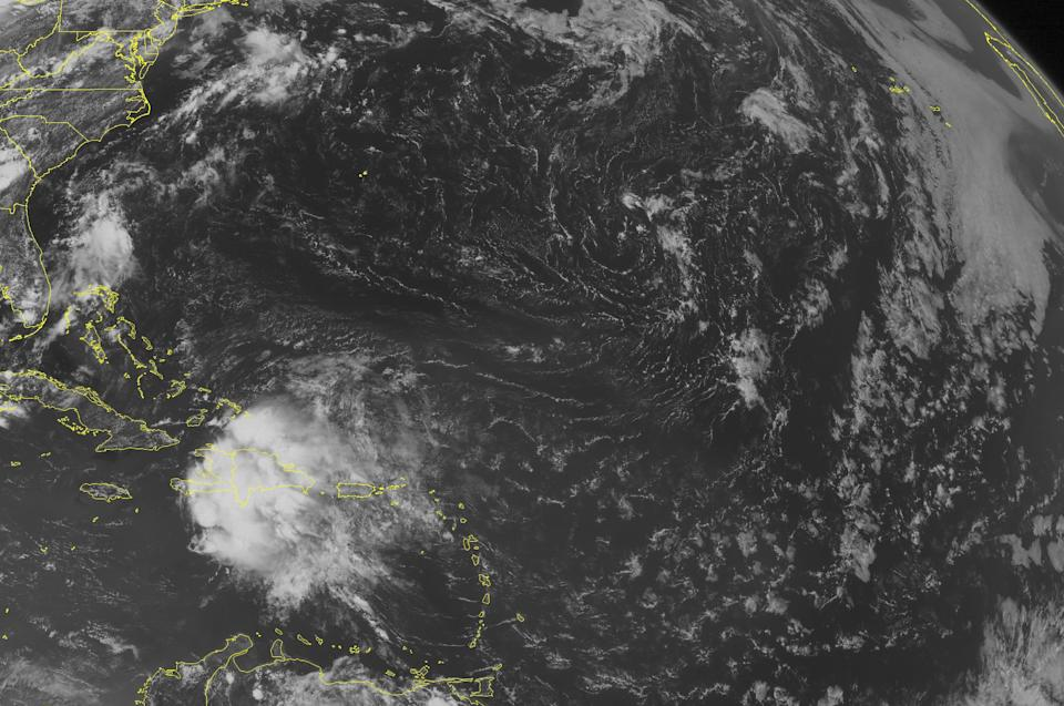 This NOAA satellite image taken Wednesday, July 10, 2013 at 01:45 PM EDT shows Tropical Storm Chantal is moving over Haiti and gradually weakening. Haiti is receiving periods of heavy rainfall and strong winds. (AP PHOTO/WEATHER UNDERGROUND)