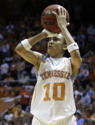 Tennessee&#39;s Meighan Simmons (10) shoots in the first half of an NCAA college basketball game against Arkansas, Thursday, Feb. 23, 2012, in Knoxville, Tenn. (AP Photo/Wade Payne)