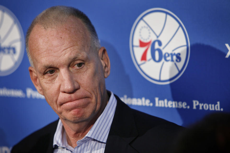 Doug Collins pauses during a news conference where he announced his resignation as head coach of the Philadelphia 76ers NBA basketball team, Thursday, April 18, 2013 in Philadelphia. (AP Photo/Joseph Kaczmarek)
