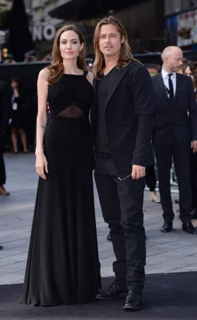 Angelina Jolie and Brad Pitt attend the world premiere of 'World War Z' at The Empire Cinema on June 2, 2013 in London -- Getty Images