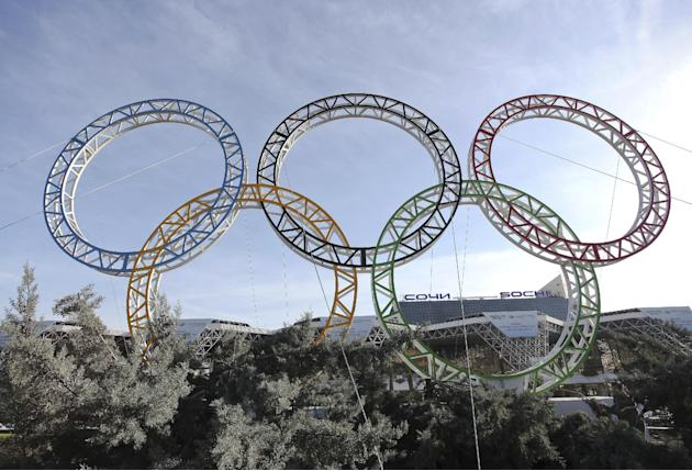 Olympic rings for the 2014 Winter Olympics are installed in the Black Sea resort of Sochi, southern Russia, late Tuesday, Sept. 25, 2012. With the Winter Olympics a year away, IOC President Jacques Ro