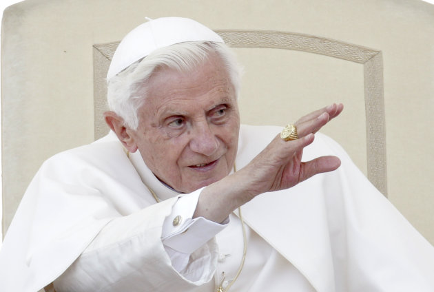 Pope Benedict XVI gives his blessing during the weekly general audience in St. Peter&#39;s square at the Vatican, Wednesday, May 30, 2012. The Pontiff broke his silence over the scandal of leaked documents that has convulsed the Vatican, saying he was saddened by the betrayal but grateful to those aides who work faithfully and in silence to help him do his job. (AP Photo/Riccardo De Luca)