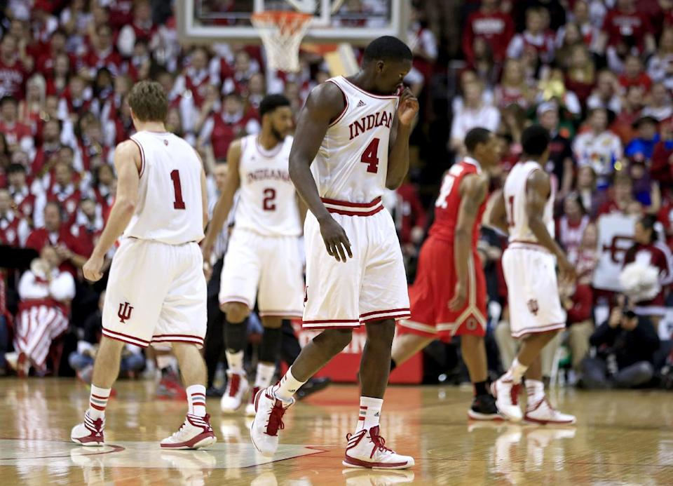 Indiana's Victor Oladipo (4) wipes his face after fouling out during the second half of an NCAA college basketball game against Ohio State, Tuesday, March 5, 2013, in Bloomington, Ind. Ohio State won 67-58. (AP Photo/Darron Cummings)