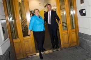 Norway's Prime Minister Jens Stoltenberg and main opposition…