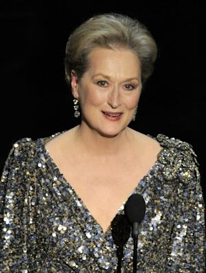 """FILE - In a Feb. 24, 2013, file photo Meryl Streep appears at the Oscars at the Dolby Theatre in Los Angeles. Streep was nominated for an Academy Award for best actress on Thursday, Jan. 16, 2014, for her role in """"August: Osage County."""" The 86th Academy Awards will be held on March 2. (Photo by Chris Pizzello/Invision/AP, File)"""