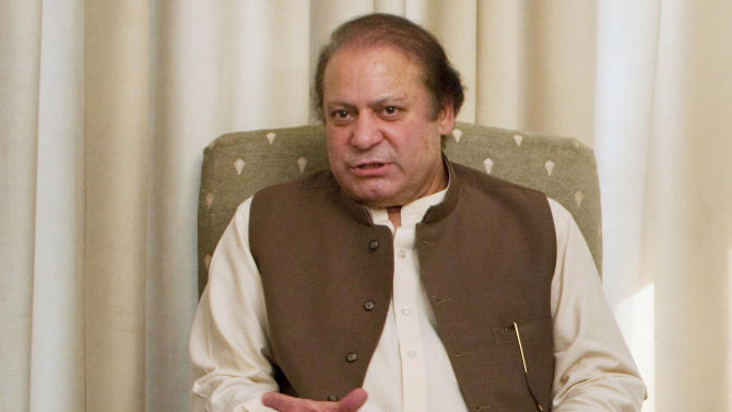 Pakistan's Prime Minister Nawaz Sharif speaks during a meeting in Islamabad, Pakistan, Saturday, June 8, 2013. Just days after taking power, Pakistan's new government lodged a protest with the U.S. and summoned a top American envoy Saturday to vent its anger over a U.S. drone strike that was said to have killed seven militants. The move bolstered expectations that Sharif's government will, at least publicly, take a much harder line against such strikes than its predecessor. (AP Photo/Anjum Naveed)