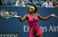 Serena Williams of the US hits against Andrea Hlavackova of the Czech Republic during their 2012 US Open women&#39;s singles match at the USTA Billie Jean King National Tennis Center in New York. Serena stormed to a double bagel 6-0, 6-0 rout of Hlavackova to reach her 10th US Open quarter-final on Monday in a ruthless display of her title credentials