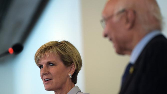 Australian Minister for Foreign Affairs Julie Bishop (L) speaks during a joint press conference with Pakistan's National Security Advisor Sartaj Aziz at the Foreign Ministry in Islamabad on May 6, 2015