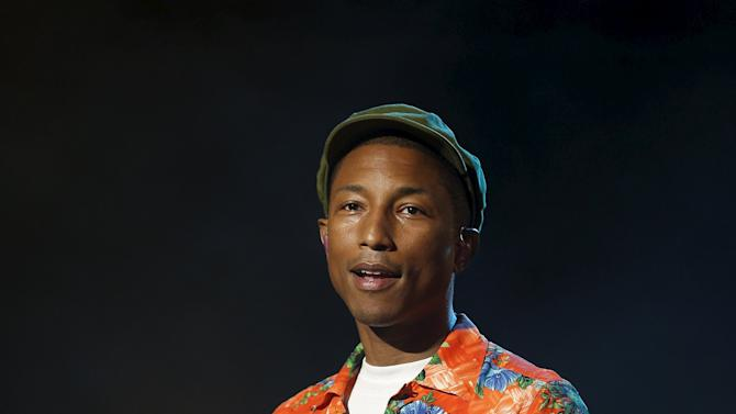 Singer Pharrell Williams performs during the 14th Mawazine World Rhythms International Music Festival in Rabat