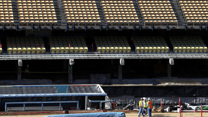 Dodgers busy improving aging stadium before season