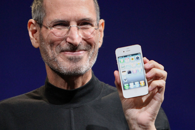 Steve Jobs shows off the iPhone 4 at the 2010 Worldwide Developers Conference