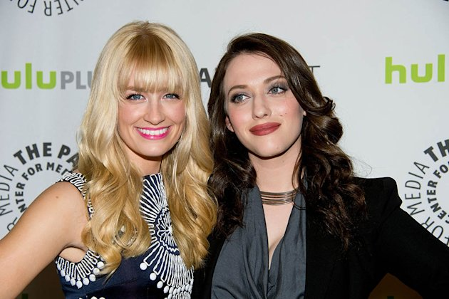 "Beth Behrs and Kat Dennings attend the 30th Annual PaleyFest featuring the cast of ""2 Broke Girls"" at the Saban Theatre on March 14, 2013 in Beverly Hills, California."