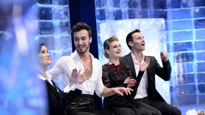France's Papadakis and Cizeron react after performing in the pairs short dance program at the ISU European Figure Skating Championships in Stockholm