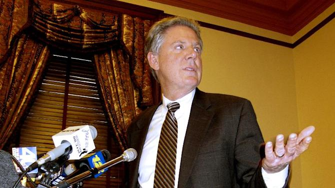 FILE - In this Jan. 23, 2012, file photo, U.S. Rep. Frank Pallone Jr., D-N.J., speaks at a news conference in Trenton, N.J. Pallone says he's officially in the race to fill the New Jersey U.S. Senate seat occupied by Frank Lautenberg until his death last week. Pallone spoke exclusively to The Associated Press on Sunday, June 9, 2013, but planned to hold a news conference Monday to announce his intentions. (AP Photo/Wayne Parry, File)