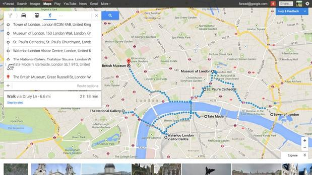 Newlook Google Maps now shows directions for multiple destinations, upcoming events