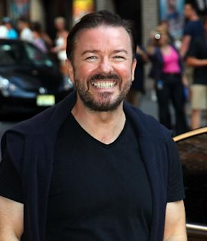 Ricky Gervais departs 'The Late Show With David Letterman' at the Ed Sullivan Theater, New York City, on August 2, 2011 -- WireImage