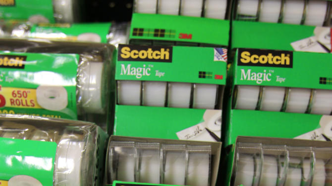 FILE - This April 25, 2011 file photo, shows 3M's Scotch tape for sale at Office Depot in Mountain View, Calif.  3M's results on Tuesday, April 24, 2012,  showed U.S. sales growth of 6.3 percent and a jump of 8.4 percent in Latin America and Canada.  Things were weaker elsewhere. 3M posted a 1.9 percent sales decline in Asia and growth of just 0.1 percent in Europe, the Middle East and Africa.  (AP Photo/Paul Sakuma, File)