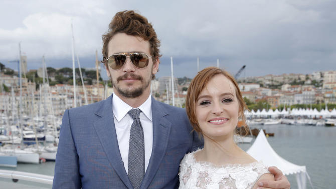 In this photo taken Sunday, May 19, 2013, James Franco and Ahna O'Reilly at the Art of Elysium Party, in Cannes, southern France. This is O'Reilly's first trip to the Cannes Film Festival, and she has two films on display. Both were in attendance as she was the guest of honor at the event, hosted by the charity Art of Elysium. (Photo by Todd Williamson/Invision/AP)