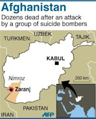 Map locating Zaranj. Suicide attackers, an ambush and a remotely-controlled bomb killed up to 50 people across Afghanistan Tuesday in the bloodiest day for civilians this year, officials said