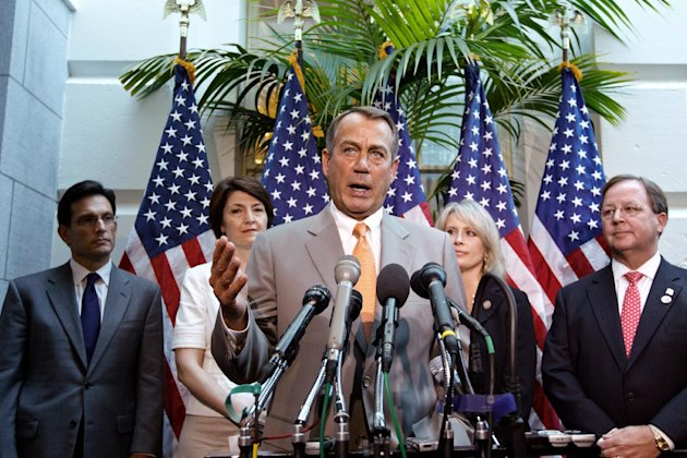 House Speaker John Boehner of Ohio, center, joined by other House GOP leaders, gestures during a news conference on Capitol Hill in Washington, Wednesday, June 27, 2012, following a political strategy session. From left are, House Majority Leader Eric Cantor of Va., Rep. Cathy McMorris Rodgers, R-Wash., Boehner, Rep. Renee Ellmers, R-NC, and Rep. Bill Flores, R-Texas. (AP Photo/J. Scott Applewhite)