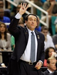 Head coach Mike Krzyzewski at the NCAA Men's Basketball Tournament in March. The US team, coached by Krzyzewski, face a third exhibition game against Great Britain at Manchester's MEN Arena on Thursday before flying to Barcelona to meet Spain and Argentina