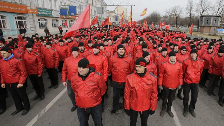 "People participate in the ""Brotherhood and Civil Resistance March"" in Moscow"