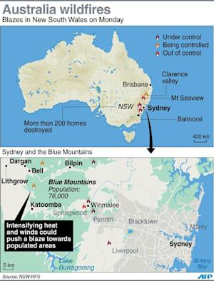 Graphic showing the areas around Sydney, hit by wildfires …
