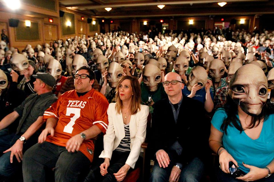 2011 SXSW Music and Film Festival Simon Pegg Nick Frost Kristin Wiig Greg Mottola