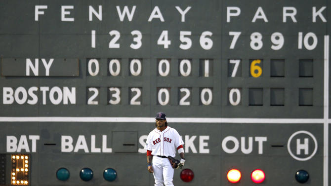 Boston Red Sox's Darnell McDonald stands in front of the scoreboard in the eighth inning of a baseball game against the New York Yankees in Boston, Saturday, April 21, 2012. (AP Photo/Michael Dwyer)