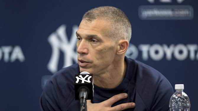 New York Yankees manager Joe Girardi speaks to the media at during baseball spring training at George M. Steinbrenner Field Tuesday, Feb. 12, 2013, in Tampa, Fla.  (AP Photo/Scott Iskowitz)
