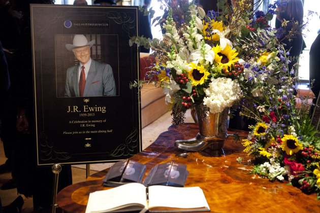 This image released by TNT shows a funeral scene for the character J.R. Ewing, played by Larry Hagman, in an episode of &quot;Dallas,&quot; airing Monday at 9 p.m. EST on TNT. Hagman died of cancer at 81 the day after Thanksgiving. (AP Photo/TNT, Skip Bolen)