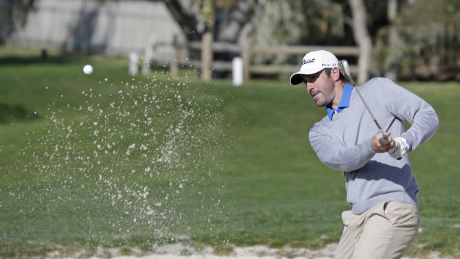 Detroit Tigers pitcher Justin Verlander hits out of a bunker onto the second green of the Pebble Beach Golf Links during the final round of the AT&T Pebble Beach Pro-Am golf tournament Sunday, Feb. 10, 2013, in Pebble Beach, Calif. (AP Photo/Eric Risberg)