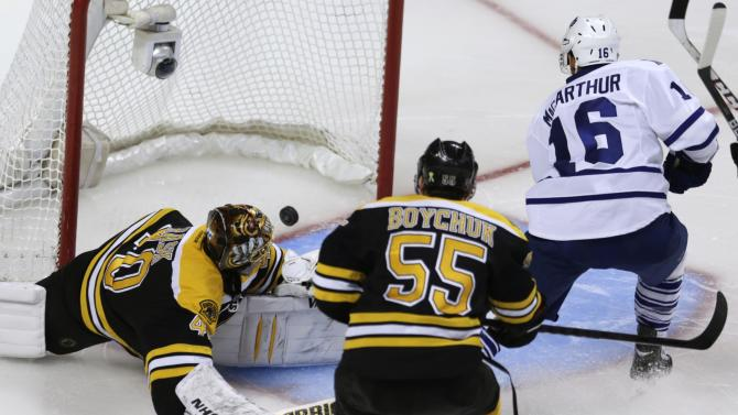 Toronto Maple Leafs left wing Clarke MacArthur (16) beats Boston Bruins goalie Tuukka Rask (40) for a goal during the third period in Game 5 of an NHL hockey Stanley Cup playoff series, in Boston on Friday, May 10, 2013. At center is Bruins defenseman Johnny Boychuk (55). (AP Photo/Charles Krupa)
