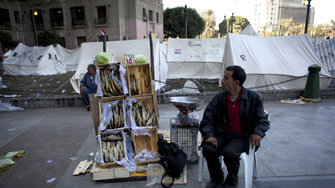 """An Egyptian street vendor displays dried fish for sale near the protest camp tents in Tahrir Square, Cairo, Egypt, Wednesday, Dec. 12, 2012. Egypt's main opposition alliance called for a """"No"""" vote in the referendum on a disputed constitution rather than a boycott, hours after Islamist President Mohammed Morsi's government forged ahead by starting overseas voting in diplomatic missions for expatriates. (AP Photo/Nasser Nasser)"""