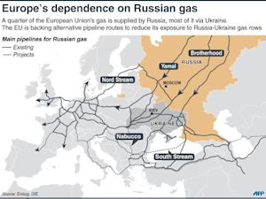 Map of Europe showing pipelines carrying Russian gas…