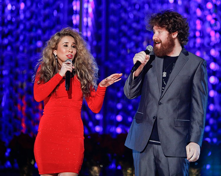Performing with Casey Abrams at the L.A. tree lighting ceremony last December