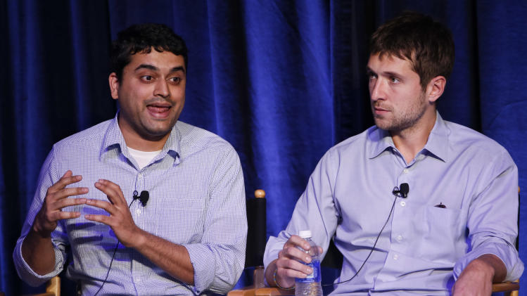 Raj Kadan and Ben J. Lerer, Co-Founder and CEO, Thrillist Media Group are seen at Advertising Week on Monday, Oct. 1, 2012 in New York. (Photo by Brian Ach/Invision for Advertising Week/AP Images)