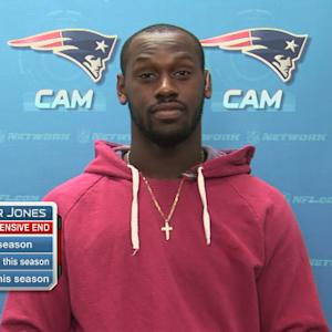 New England Patriots defensive end Chandler Jones shares the credit