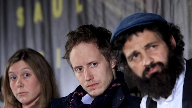 "Scriptwriter Royer, director Nemes and lead actor Rohrig attend a news conference for the film ""Son of Saul"" in Budapest"